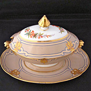Elegant  Ed. Honore Sauce Boat with Floral and Gilt Decoration