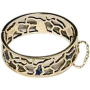 Mexican Silver Hinged  Bracelet  with Lapis by Miguel Melendez