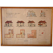 1926 Original English Architectural Drawing of House at Seal-Kent