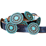 Estate Native American Navajo Silver and Turquoise Concho Belt