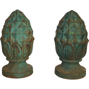 Pair of Antique Cast Iron Pineapple Finials  c. 1880