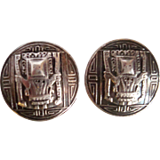 Vintage Sterling  Clip Earrings with Aztec Design