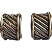 Classic David Yurman Sterling and Gold Cigar Band Earrings