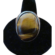 Stunning Tiger Eye Men's Ring in Sterling