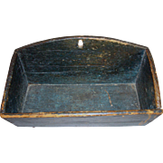 American Blue Painted Wall Box 19th Century