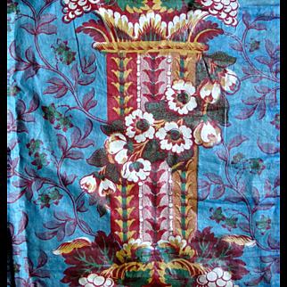 19th Century Chintz  Panel in Vivid Colors
