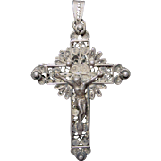Fabulous Antique Spun Silver Crucifix Pendant