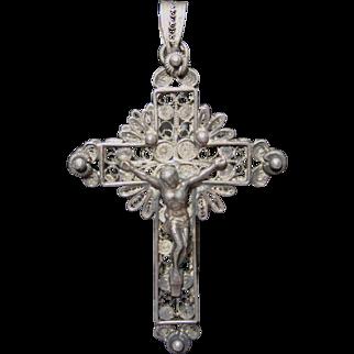 Fabulous Antique Spun Silver Crucifix Pendant