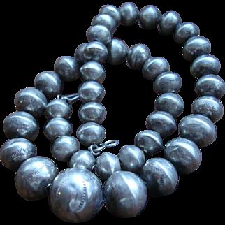 Vintage  Native American Graduated Silver Bead Necklace