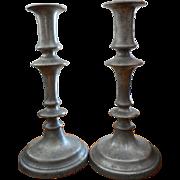 Pair 19th Century  Pewter Candlesticks