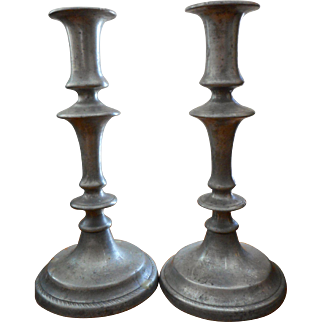 Pair 19th Century  Pewter Candlesticks
