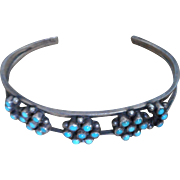 Old Pawn Silver and Turquoise  Cuff bracelet.