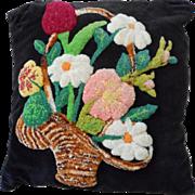 Vintage Tufted Flower Basket Pillow.
