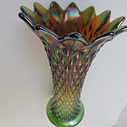 Northwood Diamond Point Carnival Glass Vase
