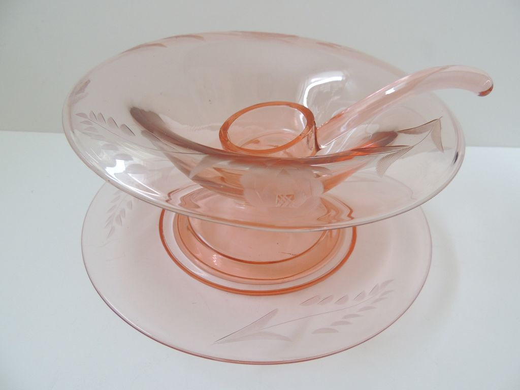 Pink Glass Mayonnaise Set