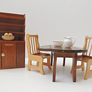 Wood Doll House Cupboard And Dining Set