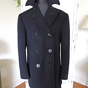 Vintage Military 1940s WWII Wool Navy Peacoat Jacket