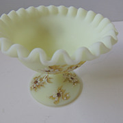 Hand Painted Fenton Compote Signed Cumberledge