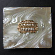 Fabulous 1950s Mother Of Pearl Top Compact By Marhill