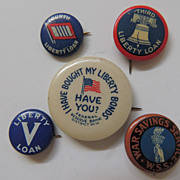 5 Vintage Pin Backs For War Bonds Savings And Liberty Loans