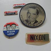 1960 Nixon And Lodge Political Campaign Pins