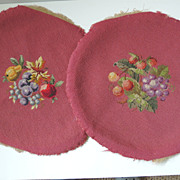2 Fruit Motif Needlepoint Covers