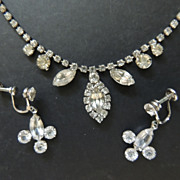 Weiss Rhinestone Necklace Plus Pair Of Earrings