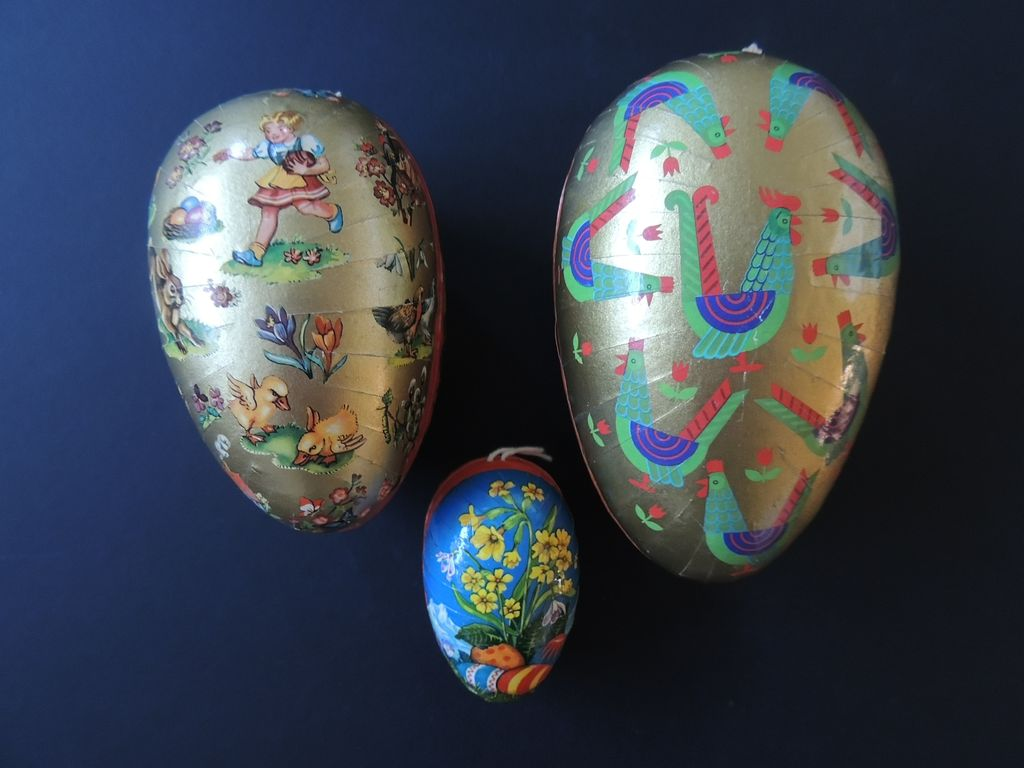 Three Vintage Paper Mache Easter Eggs from ...