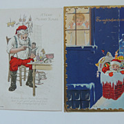 2 Santa Theme Christmas Postcards