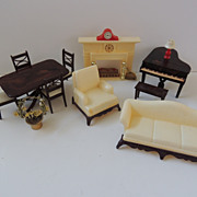 Renwal Doll House Furniture and Marx Fireplace