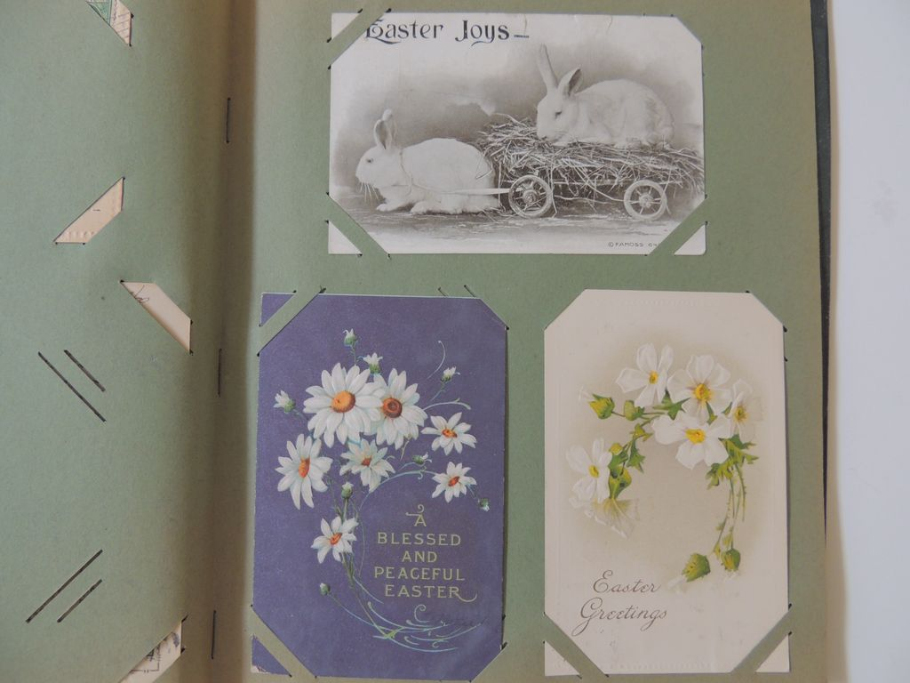 Vintage Post Card Album With Easter Post Cards