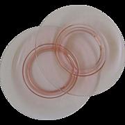 2 Pink Cambridge Plates