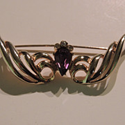 Vintage Coro Pin With Amethyst Rhinestone Setting