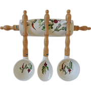 Vintage Utensils With Rack Holder