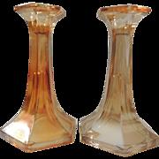 Vintage Jeannette Glass Candlesticks