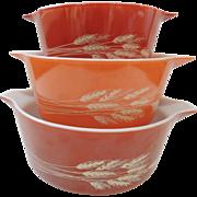 3 Pyrex Autumn Harvest Mixing Bowls