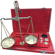 Brass Balance Scale With Weights