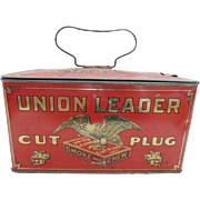 Union Leader Cut Plug Advertising Tobacco Tin