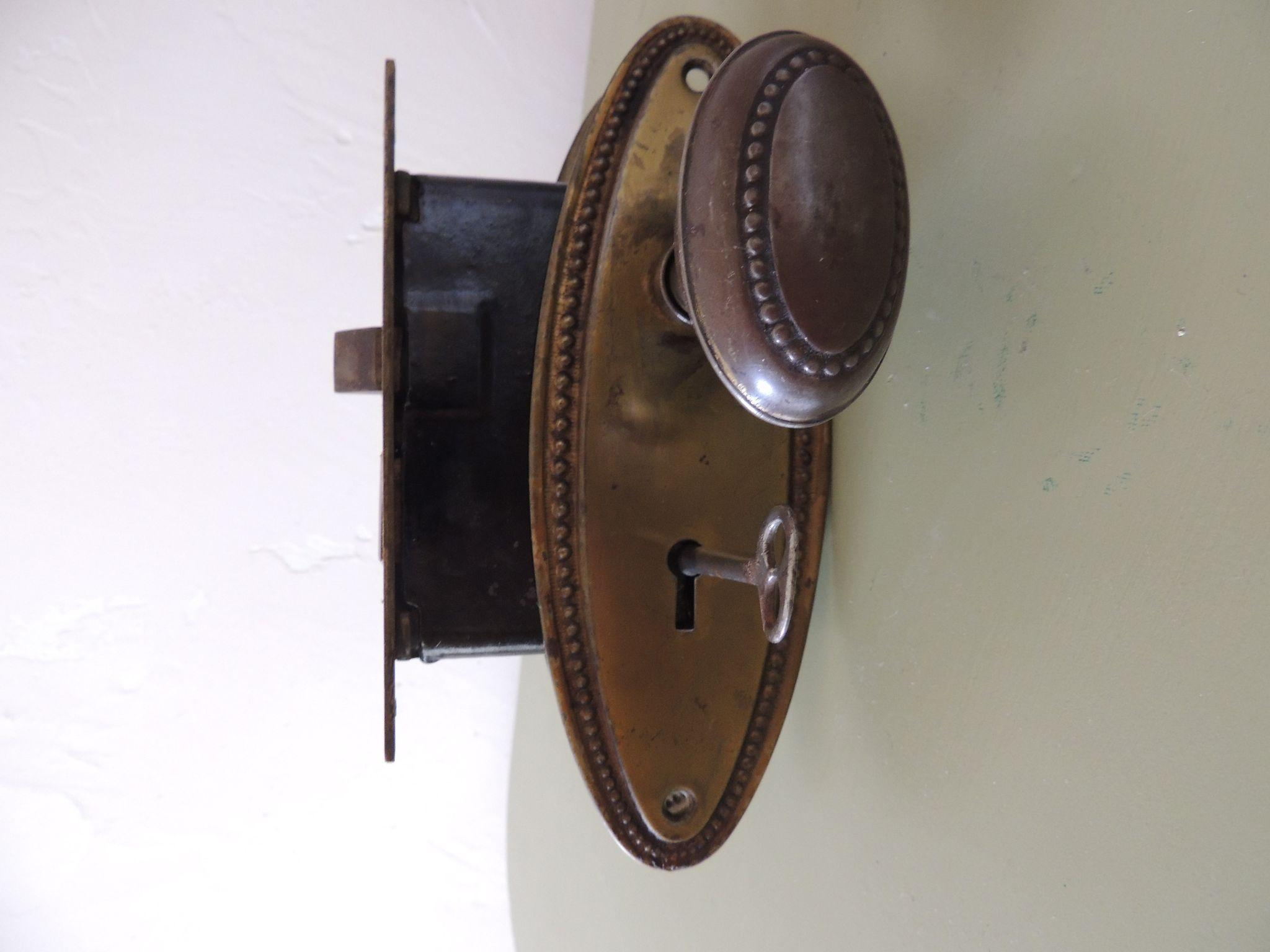 Vintage Door Knobs Back Plates Lock And Key From