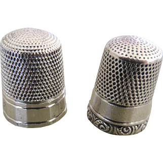 2 Vintage Sterling Silver Thimbles