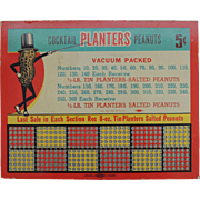 Vintage Advertising  Planters Peanut Punch Board