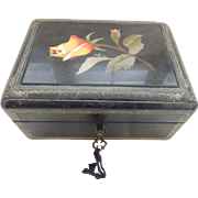Vintage Leather Covered Jewelry Box