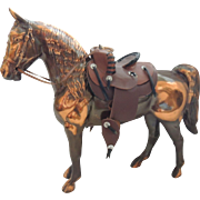Cast Metal Horse Figurine  With Saddle