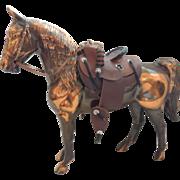 Cast Metal Horse Figurine  With Saddle