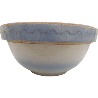 Vintage Blue and White Stoneware Bowl