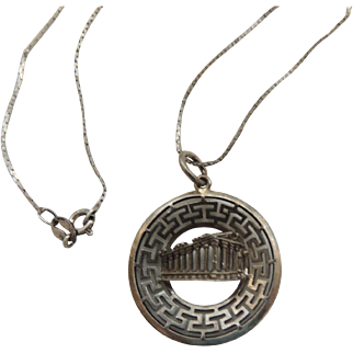 Sterling Silver Greek Parthenon Pendant Necklace