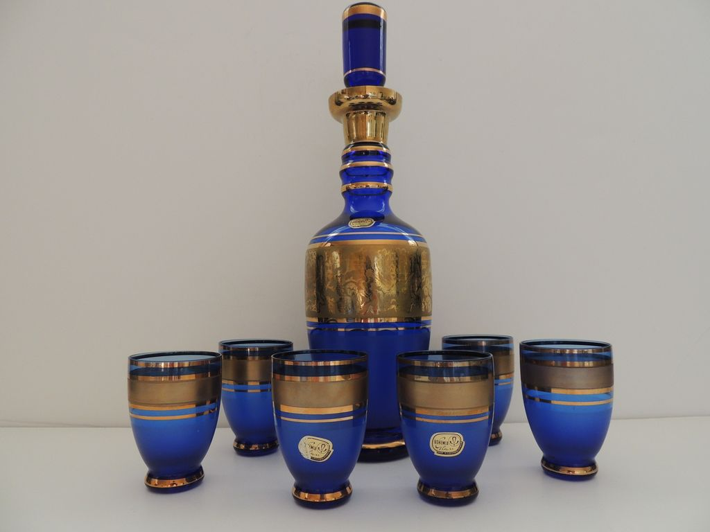 Bohemian Decanter & Six Glass Set