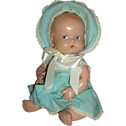"""Darling 10"""" Composition Baby Doll with Painted side glancing eyes c1930's"""