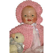 "Happy Baby Girl - 24"" EI Horsman ""Baby Dimples"" c1928 w/Steiff Ducky"