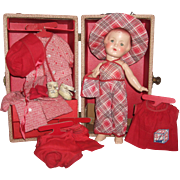 "Darling A/O 1920's 13"" Arranbee Nancy Doll w/Original Steamer Trunk"
